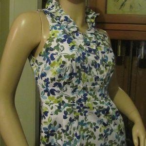 London Times  White, Blue & Green Floral Dress 4